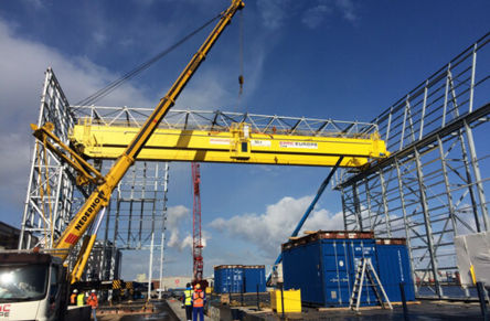 The overhead crane for AWT4 is hoisted
